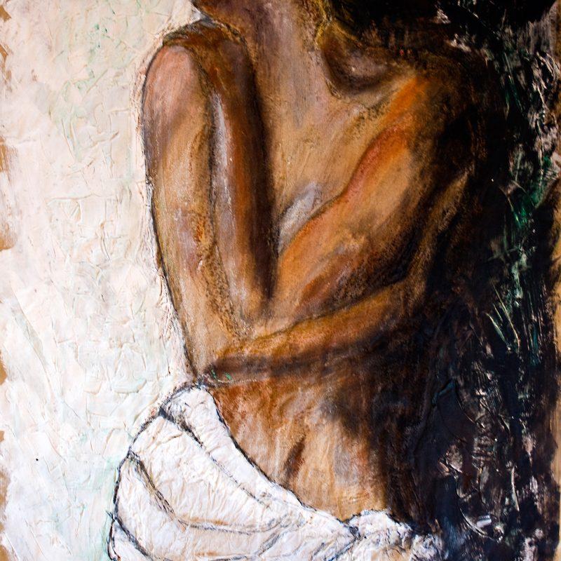 """03 nude art """"Weiblicher Akt mit Tuch"""", Mischtechnik, DIN A 0"""