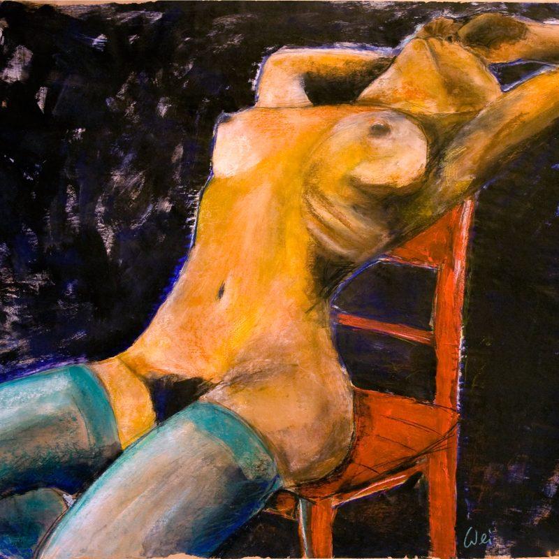 """07 nude art """"Weiblicher Akt auf rotem Stuhl"""", Mischtechnik, DIN A 0"""
