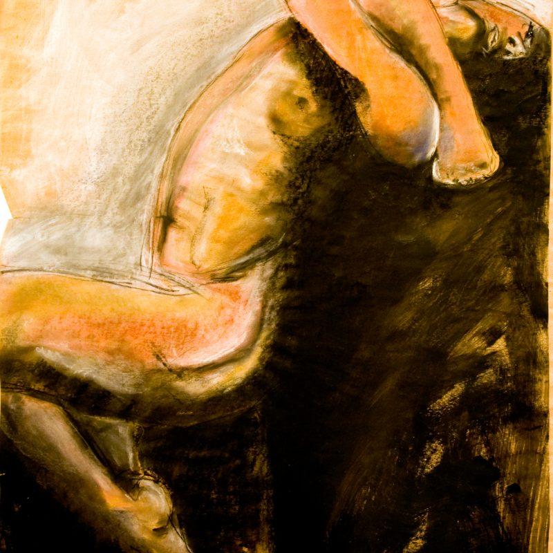 """08 nude art """"Mann, tanzend"""", Mischtechnik, DIN A 0"""