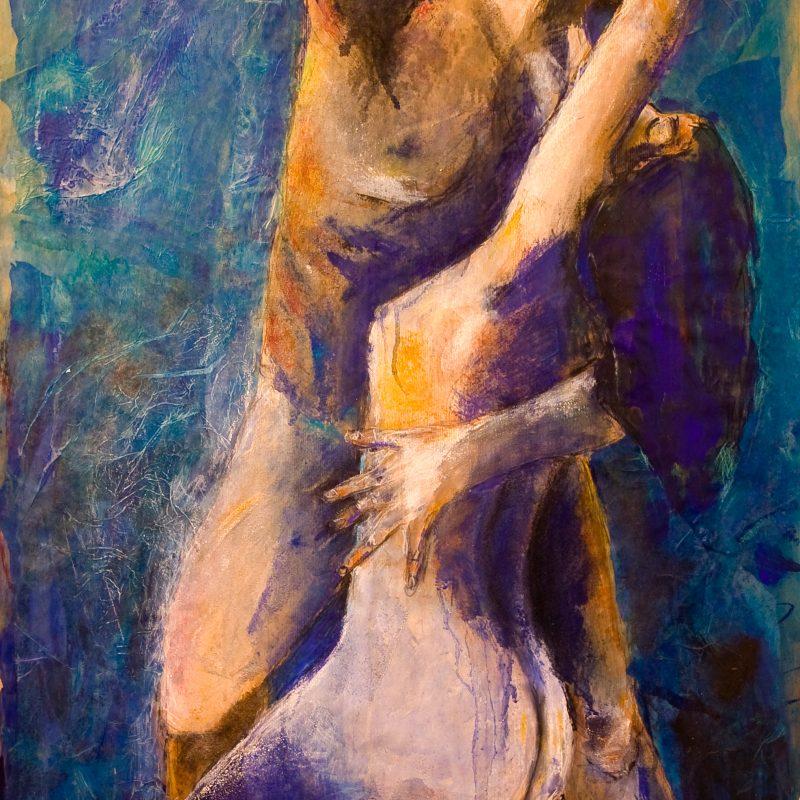 "09 nude art ""Paar, sich haltend"", Mischtechnik, DIN A 0"