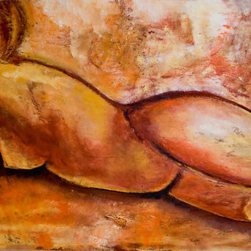 """15 nude art """"Weiblicher Akt, auf Sofa"""", Mischtechnik, DIN A 0"""