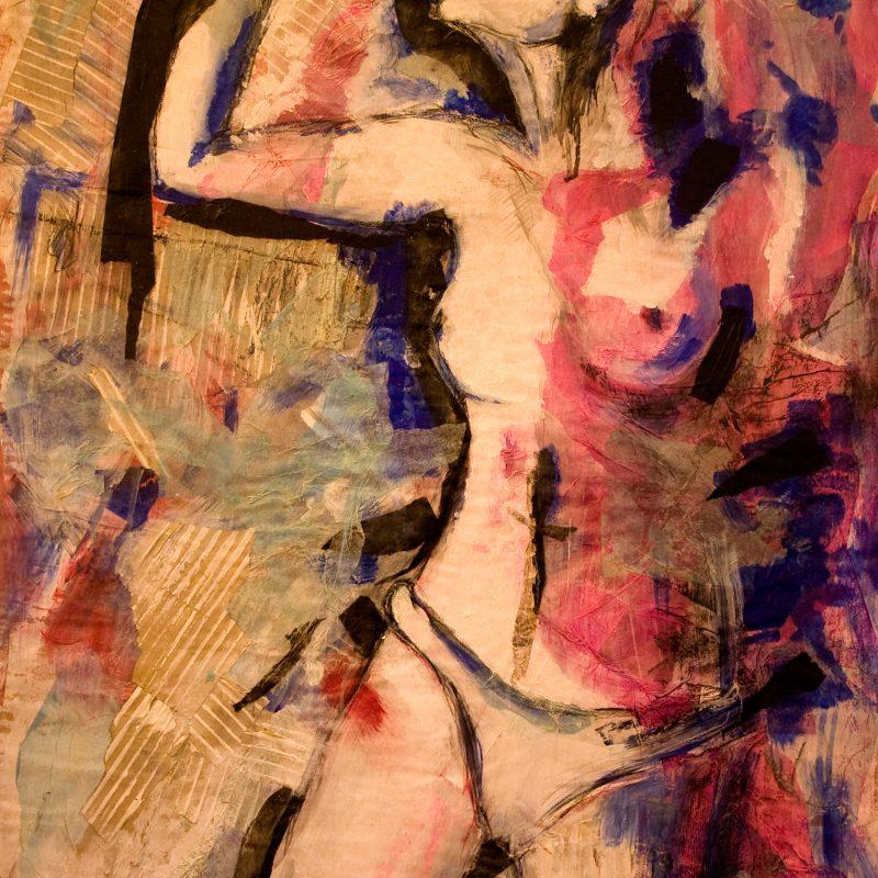 """17 nude art """"Weiblicher Akt, stehend"""", Mischtechnik, DIN A 0"""