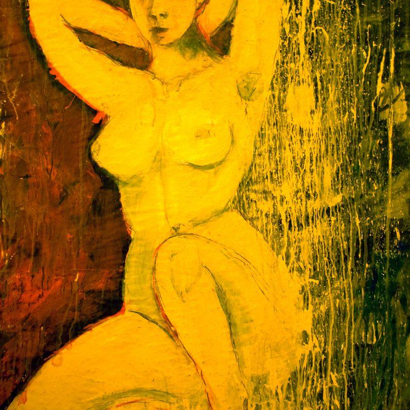 """18 nude art """"Weiblicher Akt in Gelb"""", Mischtechnik, DIN A 0"""