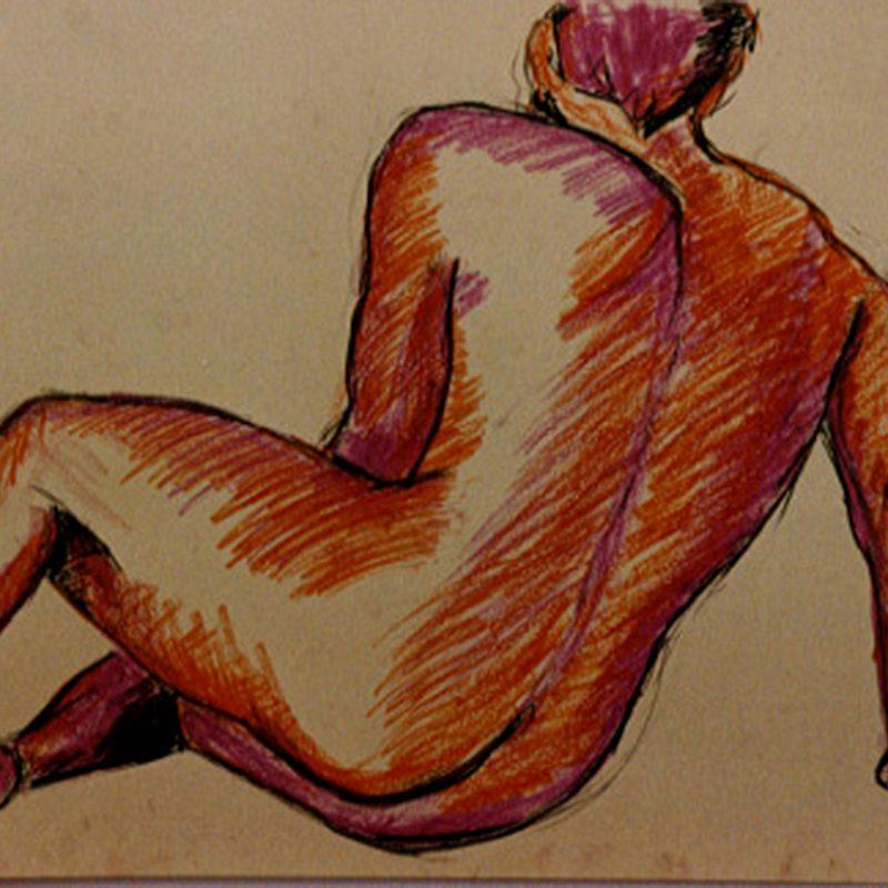 """19 nude art """"Männlicher Rückenakt"""", Kreiden, DIN A 2"""