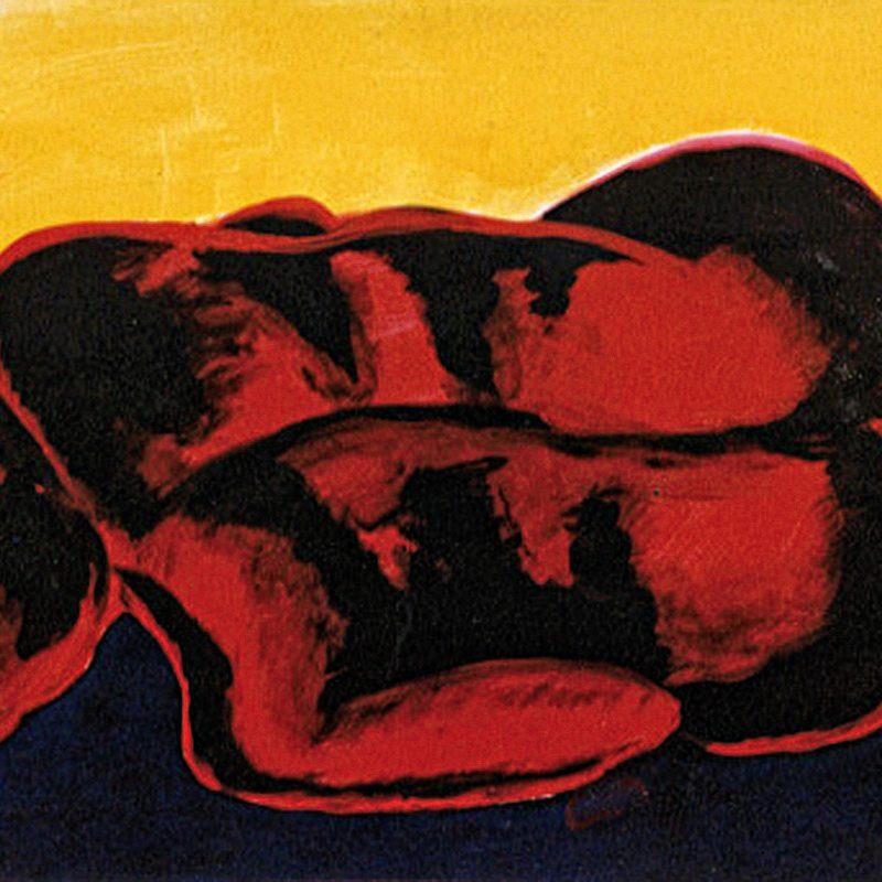 """20 nude art """"Mann liegend, rot-gelb"""", Mischtechnik, DIN A 2"""