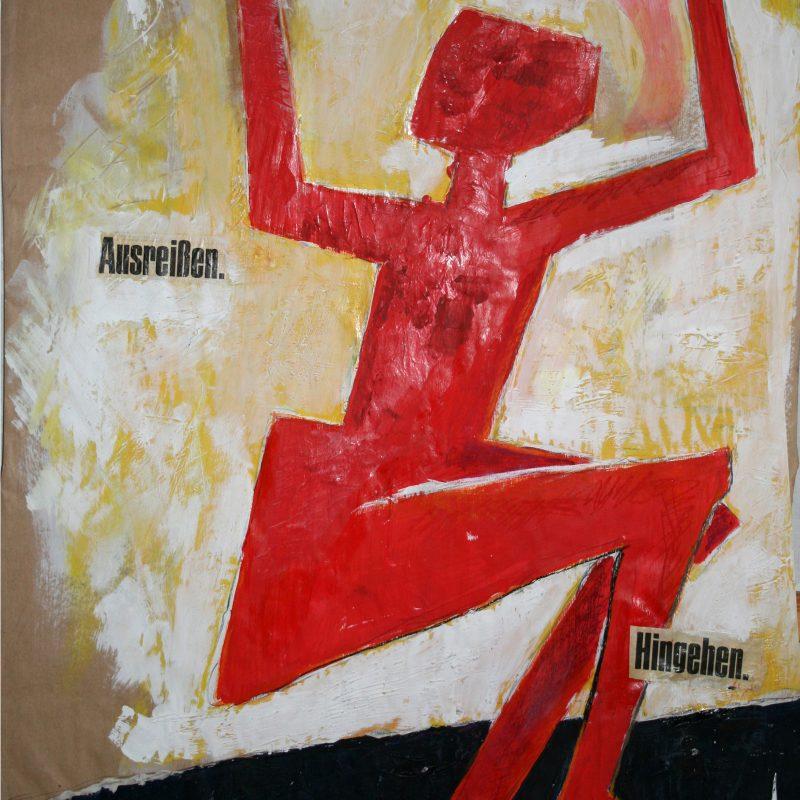 "abstract art ""Hingehen"" Mischtechnik, DIN A 0"