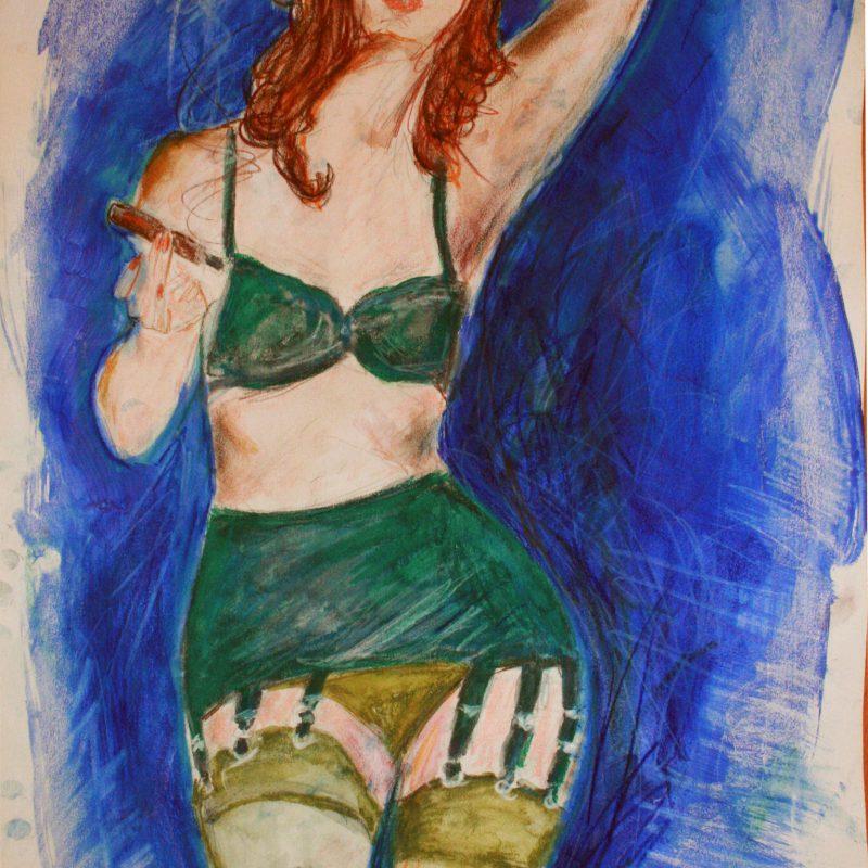 """28 nude art """"Rauchend"""", Mischtechnik, DIN A 2"""