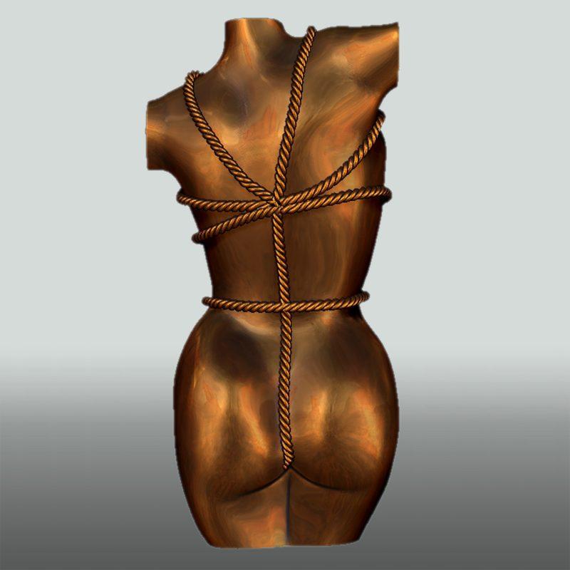 Skulptur Bondage Lady, Rückseite, Bronze