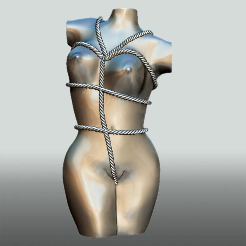 Skulptur Bondage Lady, Vorderseite, Silberfinish