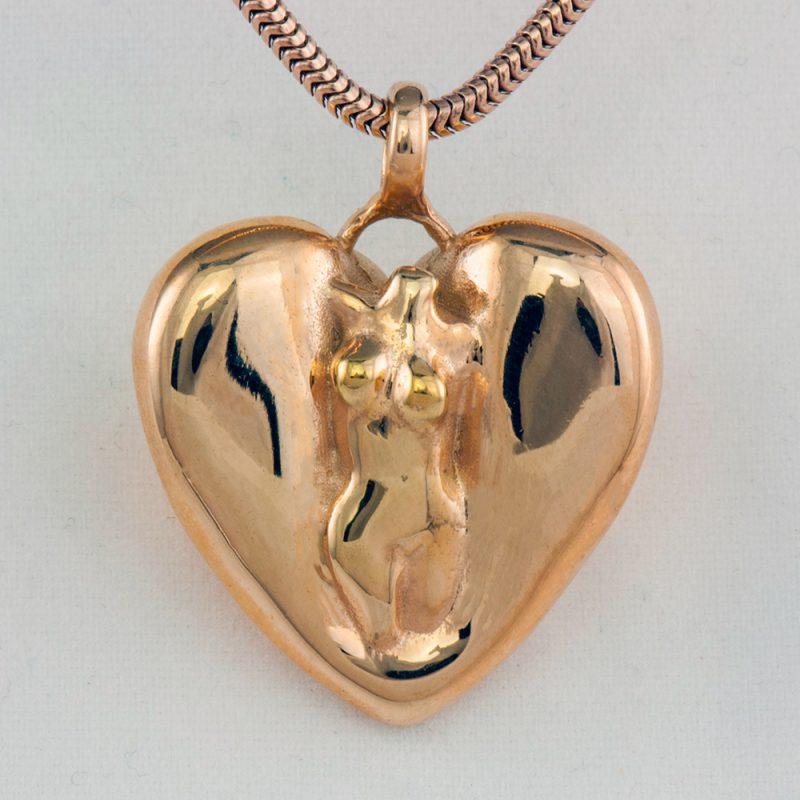 Erotikschmuck, Herzanhänger Lady Heart, Gold/vergoldet, Vorderseite