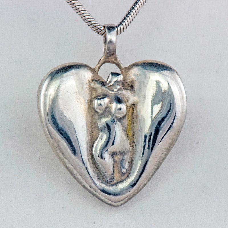 Erotikschmuck, Herzanhänger Lady Heart, Silber, Vorderseite
