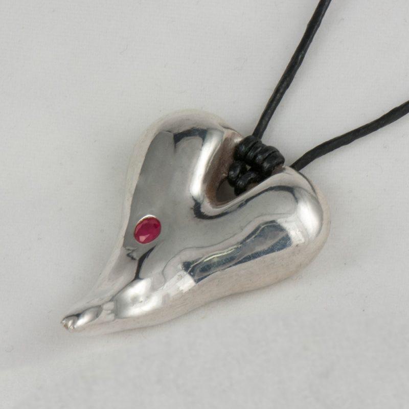 Erotikschmuck, Anhänger Kinky Tongue, Silber, mit Rubin