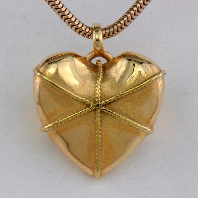 Erotikschmuck, Herzanhänger Boundet Heart, Gold/vergoldet, Vorderseite