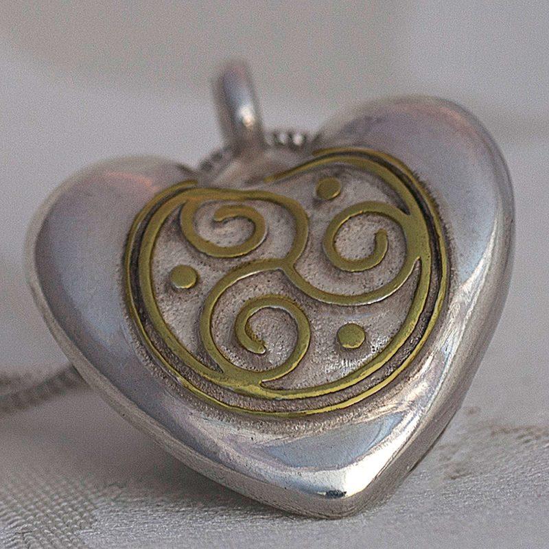 Erotikschmuck, Herzanhänger Triskele Heart, Bicolor