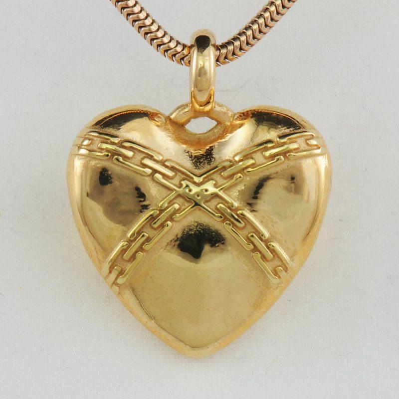 Erotikschmuck, Herzanhänger Chain Heart, Gold/vergoldet, Vorderseite