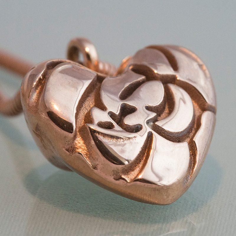 Erotikschmuck, Herzanhänger Rose Heart, Vorderseite, roseévergoldet