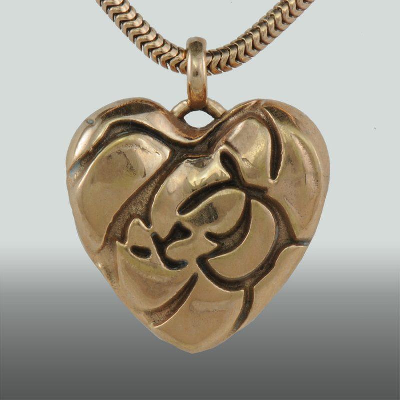 Erotikschmuck, Herzanhänger Rose Heart, Vorderseite, Gold/vergoldet
