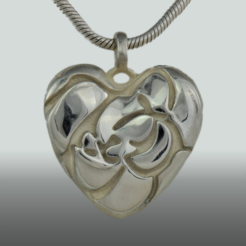 Erotikschmuck, Herzanhänger Rose Heart, Vorderseite, Silber