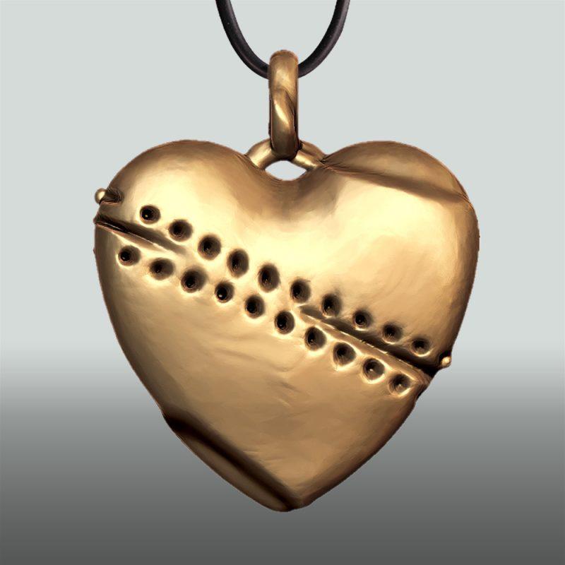 Erotikschmuck, Herzanhänger Broken Heart, Vorderseite, Gold/vergoldet
