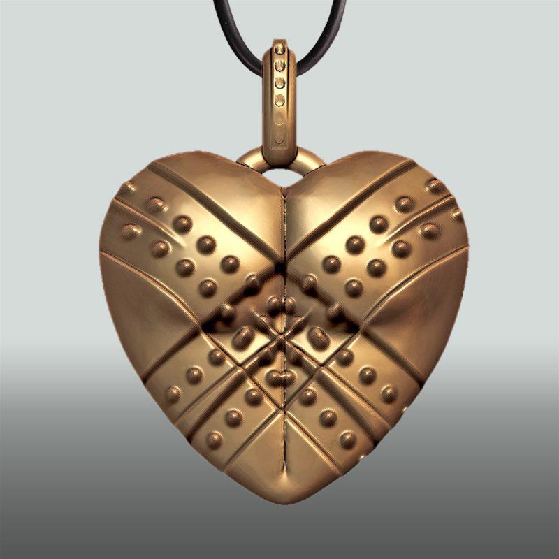Erotikschmuck, Herzanhänger Fixed Heart, Gol/vergoldet, Rückseite