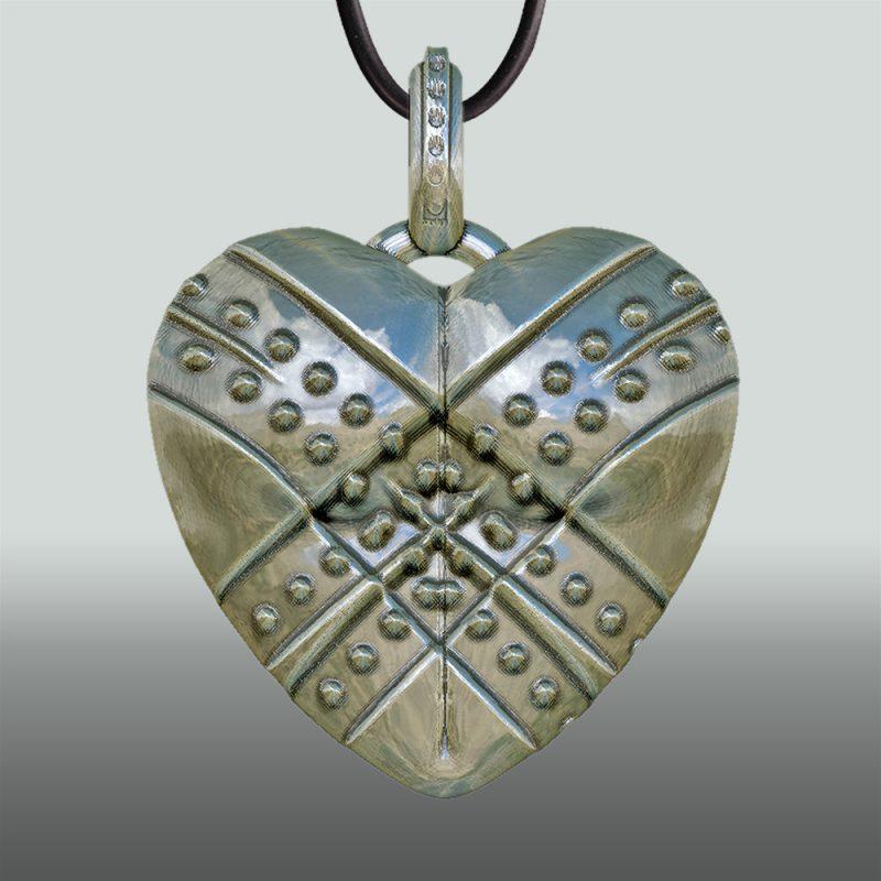 Erotikschmuck, Herzanhänger Fixed Heart, Silber, Rückseite