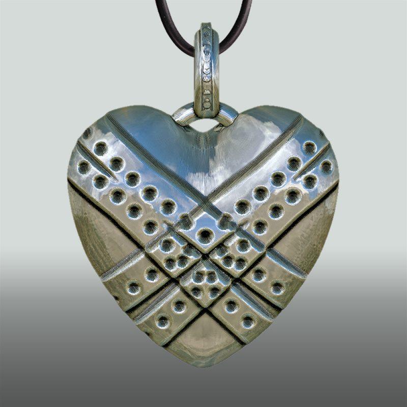 Erotikschmuck, Herzanhänger Fixed Heart, Silber, Vorderseite