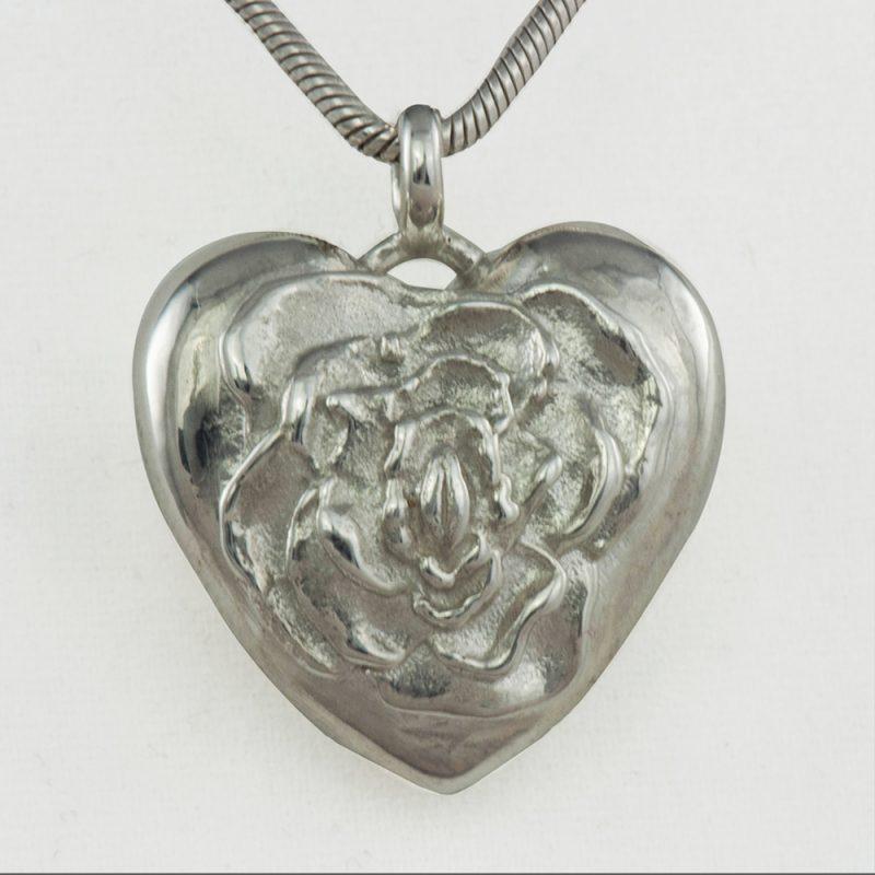 Erotikschmuck, Herzanhänger Rosebud Heart, Silber