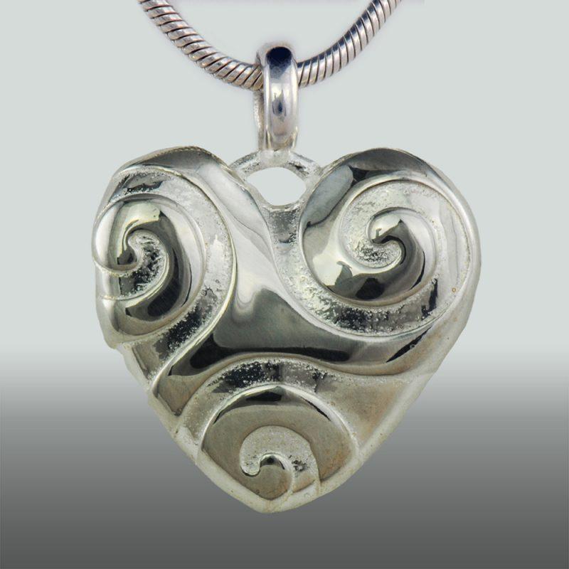 Erotikschmuck, Herzanhänger Spiral Heart, Silber, Vorderseite