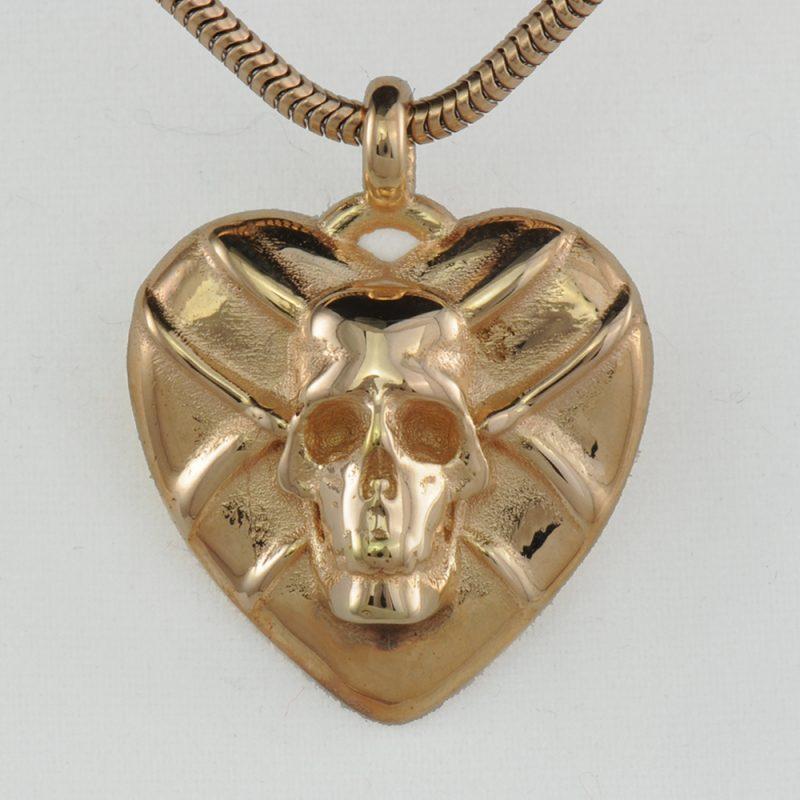 Herzanhänger Skull/Sword - extravaganter Silberanhänger - Herzanhänger – Herz-Totenkopf - Gotik – Kult