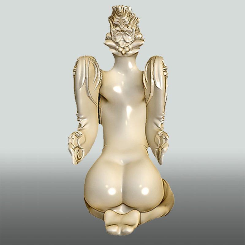 Lady Bird – Vogelfrau – Skulptur aus Sandstein, bemalt, Rückseite