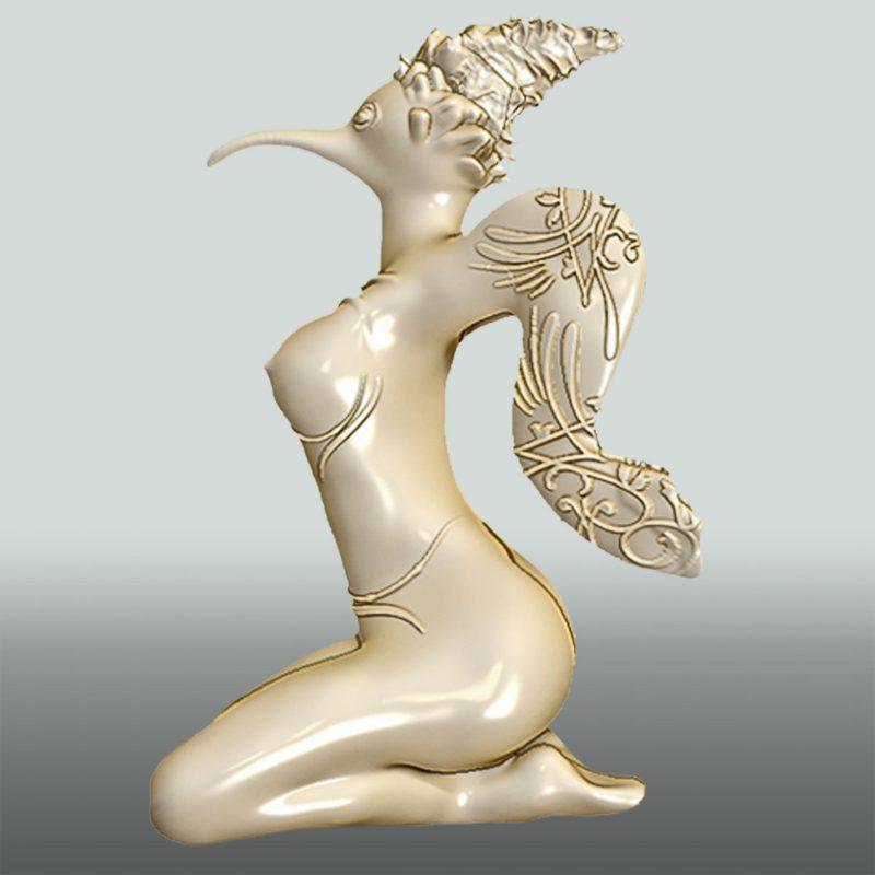 Lady Bird – Vogelfrau – Skulptur aus Sandstein, bemalt, Seite