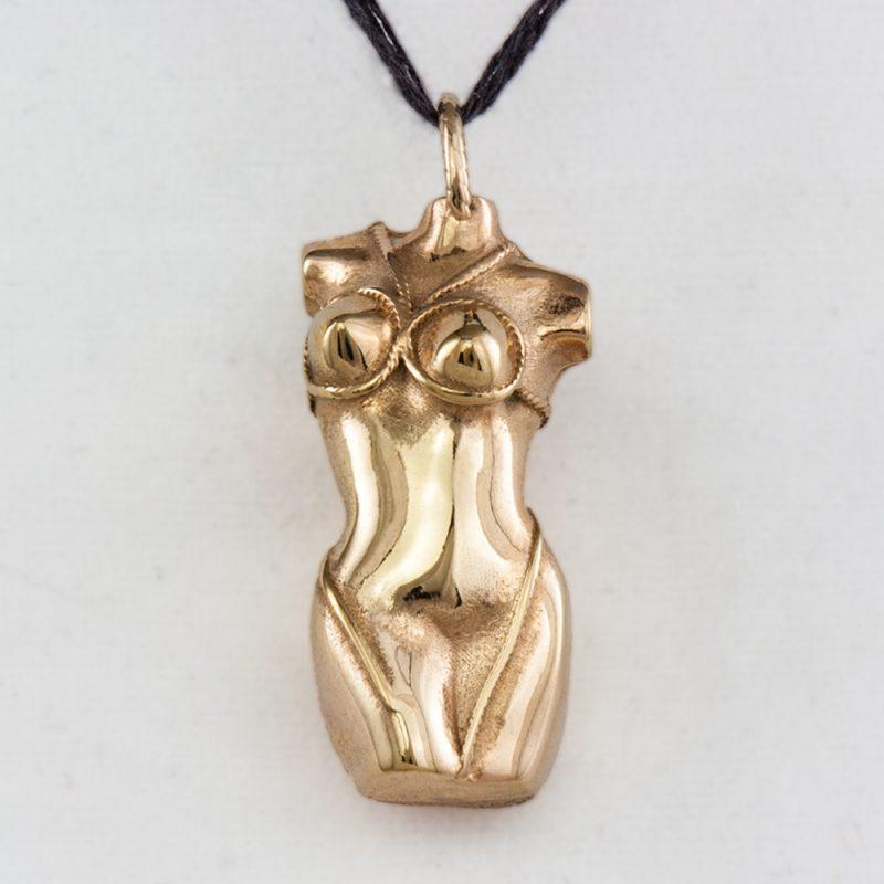 Erotikschmuck, Anhänger Bondage Lady, gold