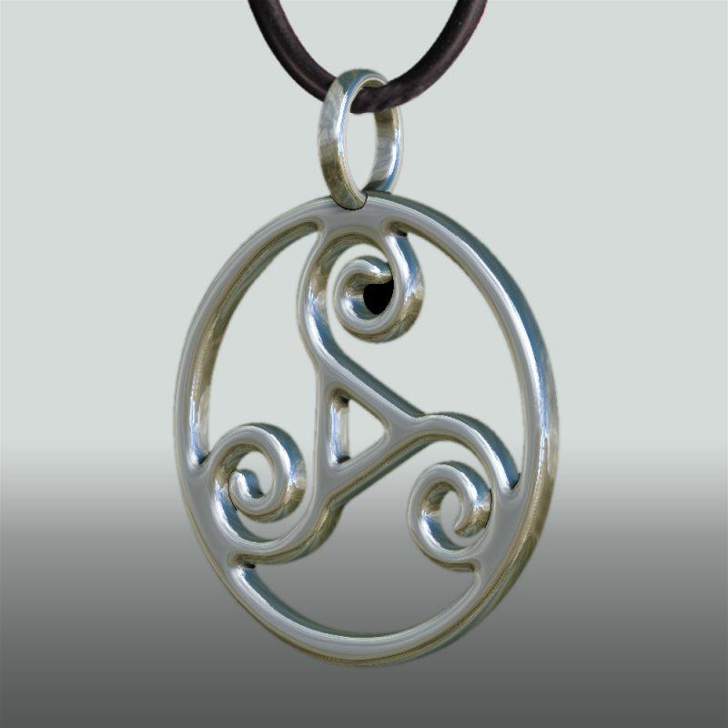 Triskele Anhaenger Seitansicht - Silberanhänger - Symbol – BDSM - Keltikschmuck