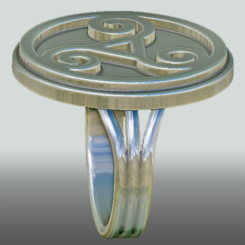 Triskele Ring, silber, Detail