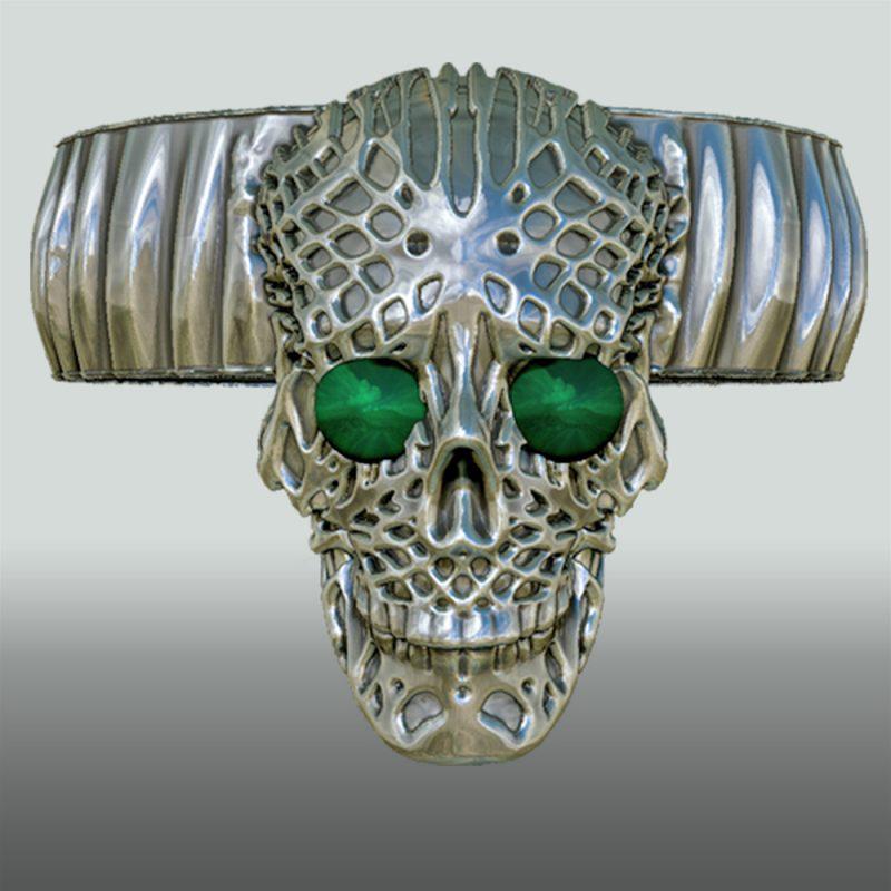Skullring silber, mit Stein, Detailansicht 3