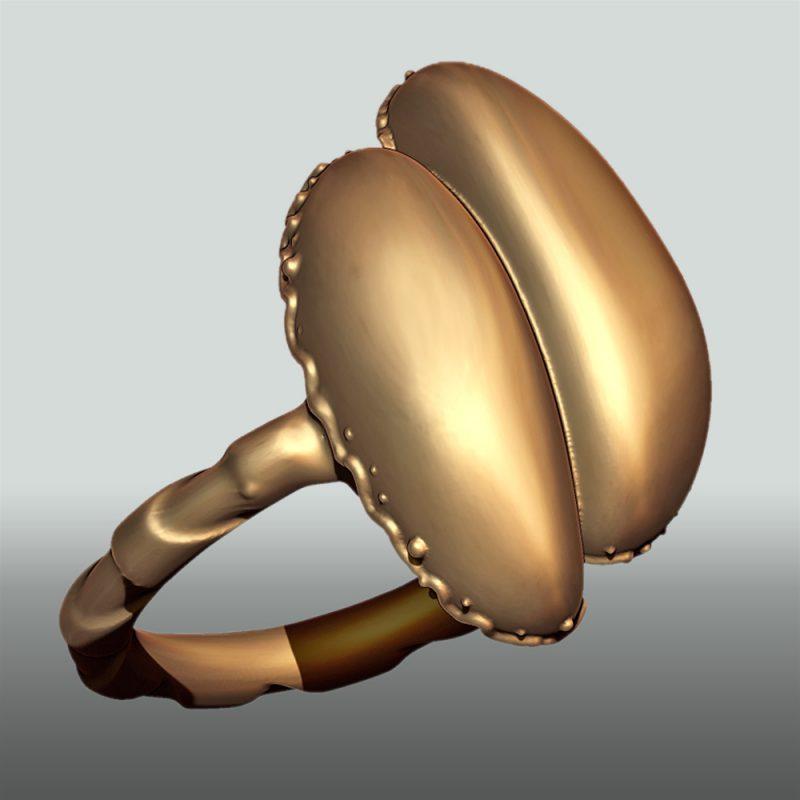 Erotikschmuck, Ring coco de mer, gold