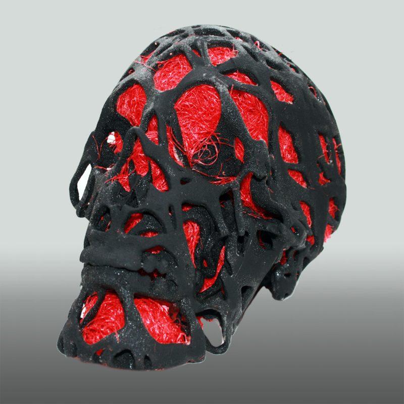 Graphit Skull – Schädel in Sandstein, mit Sisal gefüllt, 3D-Ausdruck, Front