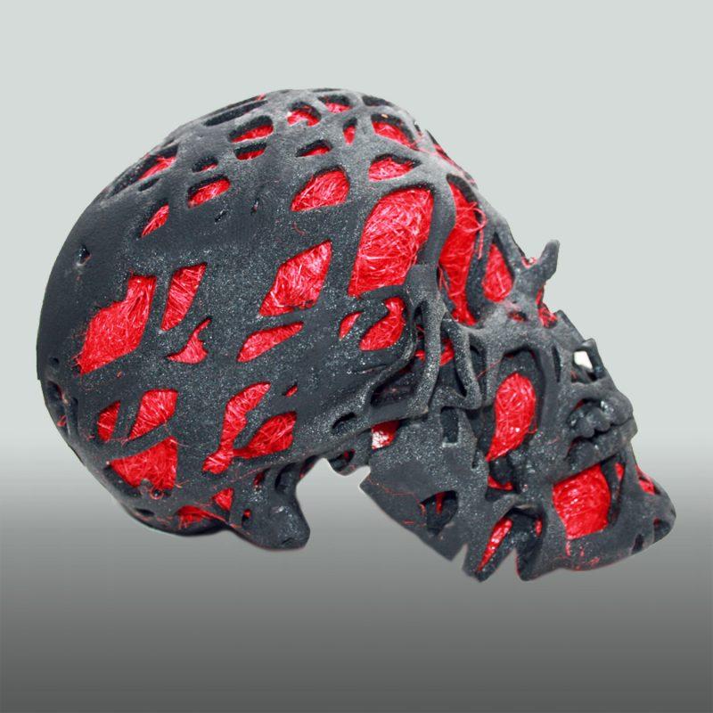 Graphit Skull – Schädel in Sandstein, mit Sisal gefüllt, 3D-Ausdruck, Seite
