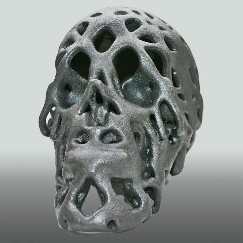 Graphit Skull – Schädel in Graphit. 3D-Ausdruck, Ansicht 3