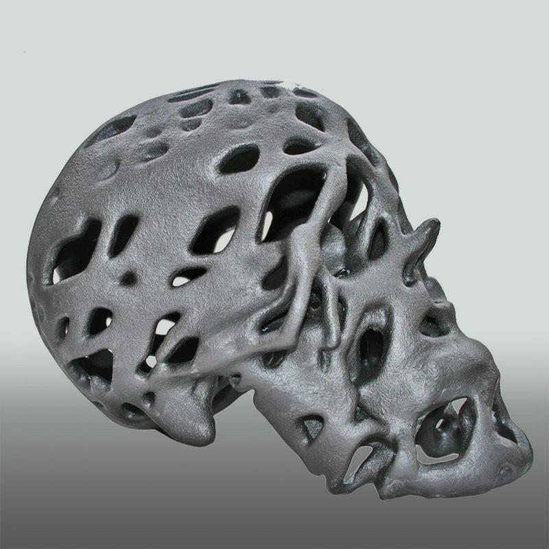 Graphit Skull – Schädel in Graphit. 3D-Ausdruck, Ansicht 2