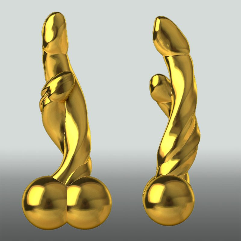 Two Beauties – doppelter Phallus, Goldfarben, Ansicht 1