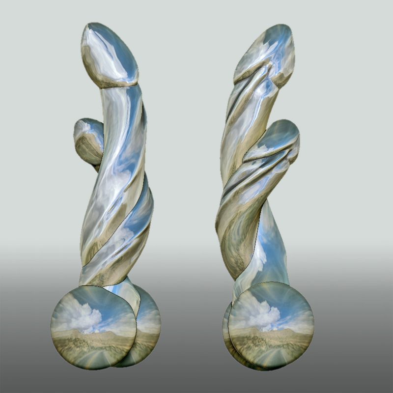Two Beauties – doppelter Phallus, Silber, Ansicht 1