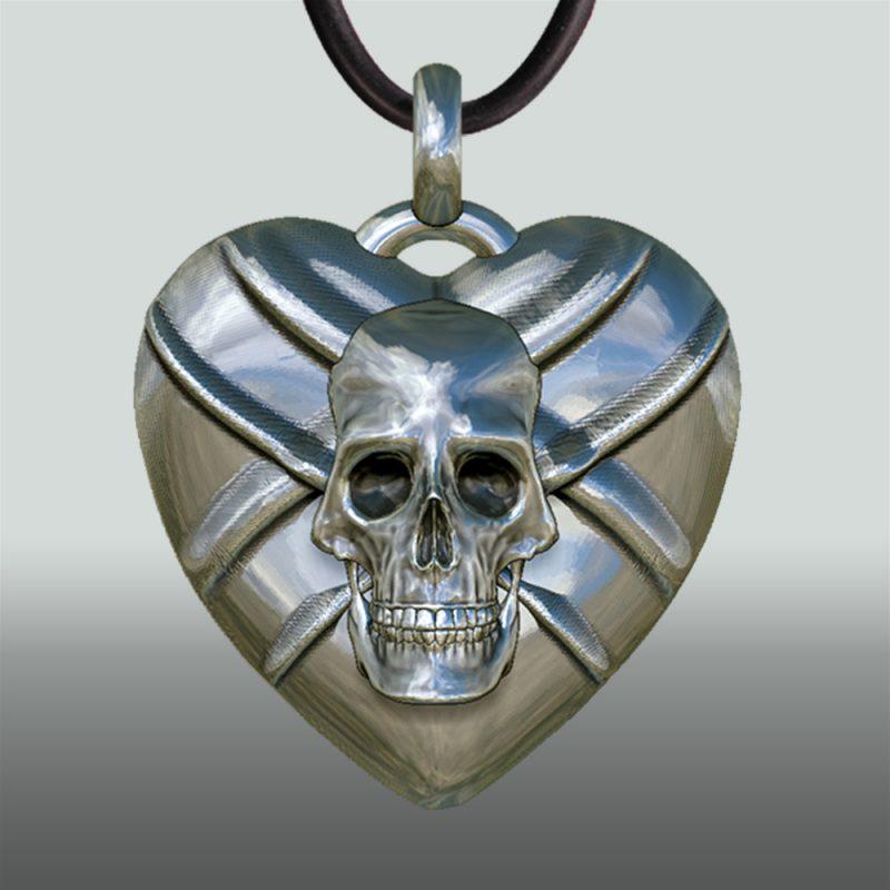 Herzanhänger Skull/Sword - extravaganter Silberanhänger - Herzanhänger - Schmetterling – Herz-Totenkopf - Gotik – Kult